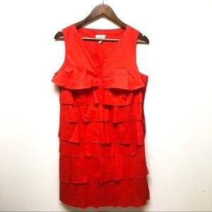 LOFT | Orange Button Tiered Ruffle Shift Dress